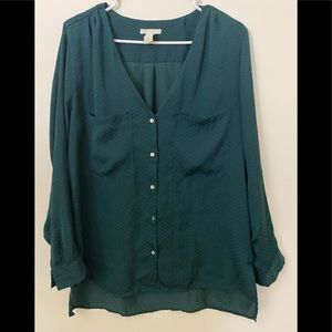 H & M forest green blouse with white dots size 10